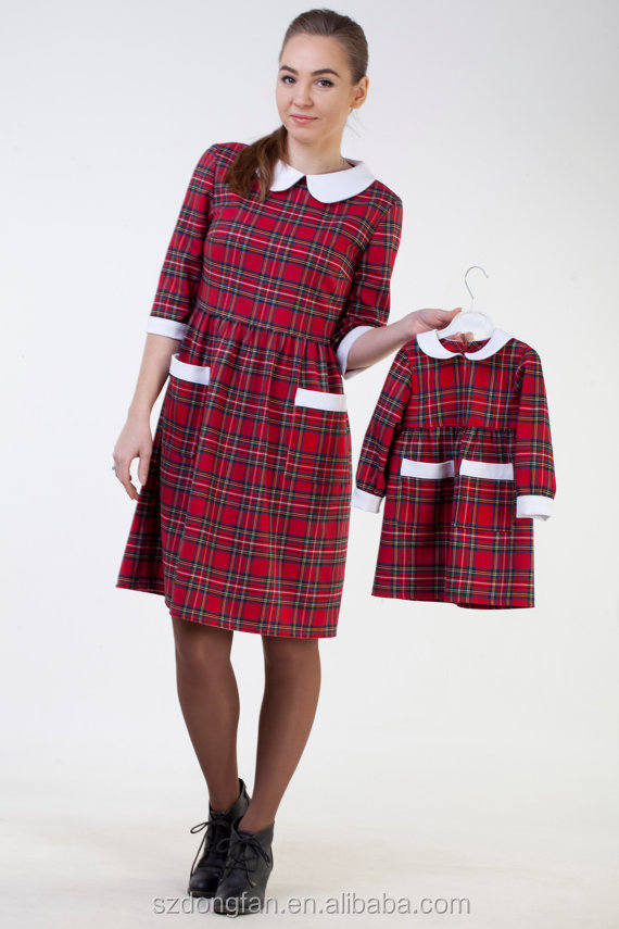 Hot Sale Mom And Daughter Dress Christmas Red Plaid Patry Dress For Mother and Daughter