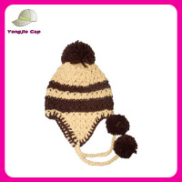 Girls Fashion Handmade Warm Wholesale winter custom beanie hat with pom pom earflap beanie knitting patterns free