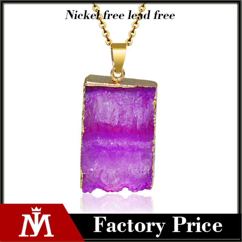 Colourful Natural Gemestone Pendant Necklace Irregular Crystal Druzy Jewelry for Women