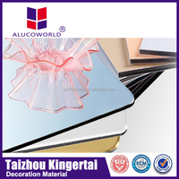 Alucoworld 4mm PE/PVDF coated acp 3d wall panels white wood wall paneling aluminium composite panel