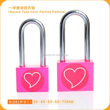 Safety Square Type Color Painted Heart Logo Hardened Long Shackle Atomic Key iron Padlock Door Lock