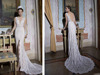 1A297 Sexy V neck Low Open Back Split Lace Wedding Dress Patterns Free Wedding dress Evening Dress