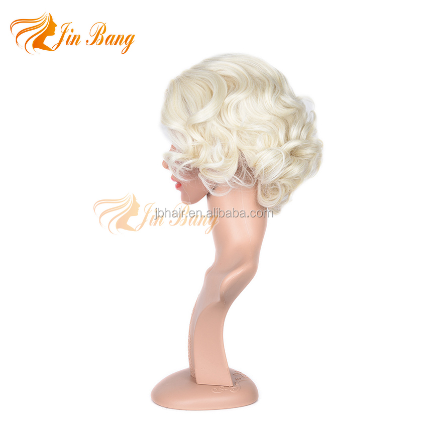 light blonde color loose weave synthetic fiber queen wig for fashion
