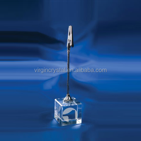 Wholesale Promotional Cheap Logo Customized Crystal Memo Clip with Blue Cube Base as Company Promotion Gift
