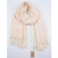 latest design spring popular lace trim viscose polyester woven scarf - islamic Muslim hijab women scarf