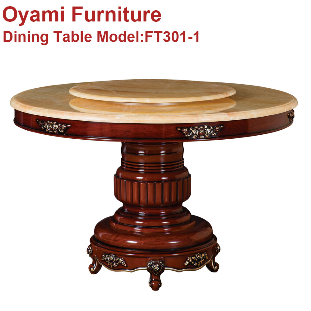 royal luxury wooden carved glass dinning table