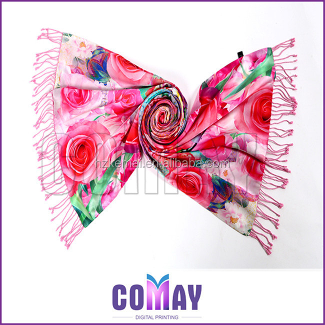 Ladies Fashion Spring/Summer Floral Fabric Digital Print Silk Square Scarf