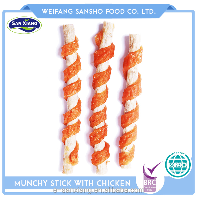 healthy dog treats munchy stick twined by chicken