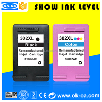 printer 4520 deskjet 3630 with reset chip show ink level 302xl for HP remanufactured ink cartridges