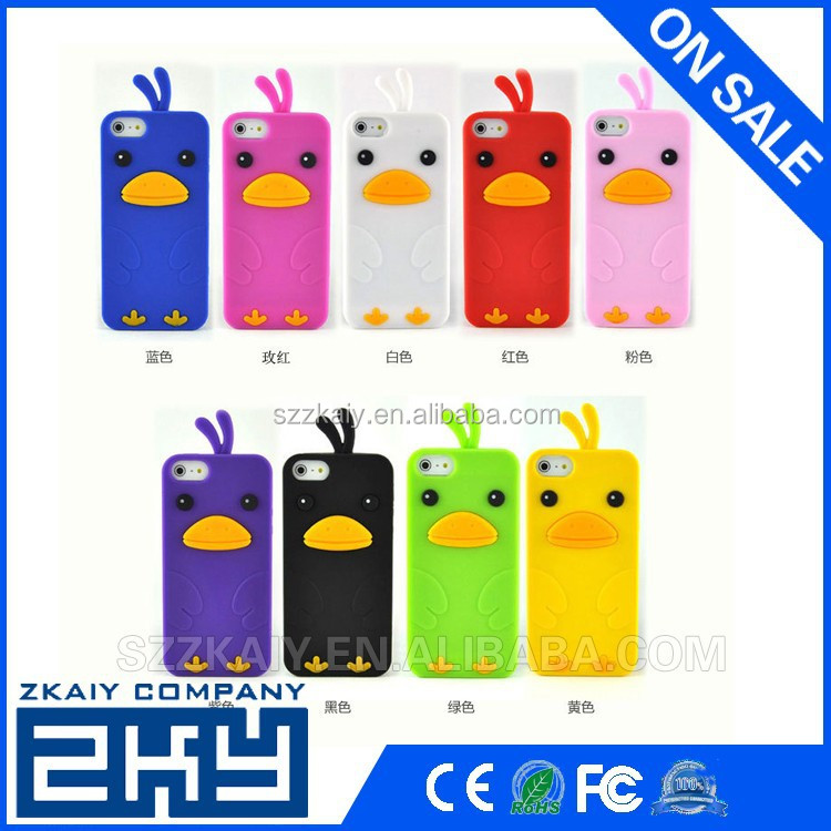 Cute 3d animal shape silicone mobile cover for iphone5 silicone case