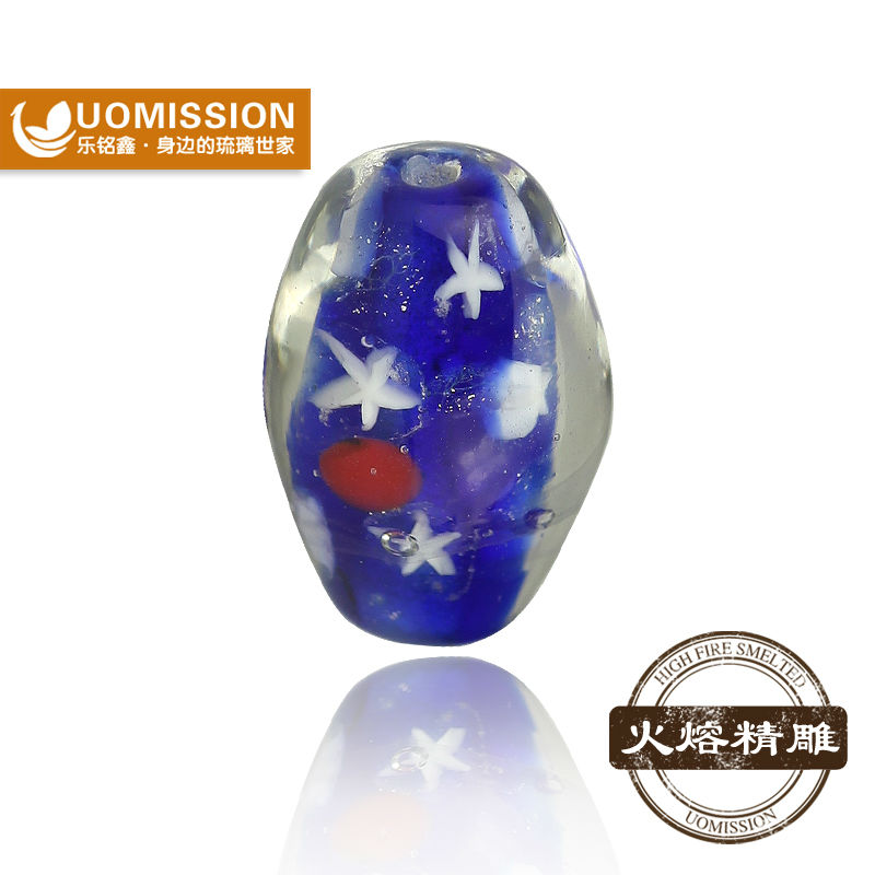Small Hole Blue with White Star Lampwork Glass Beads European Style Oval Glass Beads