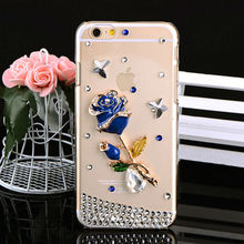 Blue Rose Case for iPhone 6,For iPhone Mobile Phone 3d Diamond Gemstone Jewelry Case