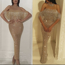 Fashionable women Long elegant Evening Dress Latest Design Sexy Beaded lady gown