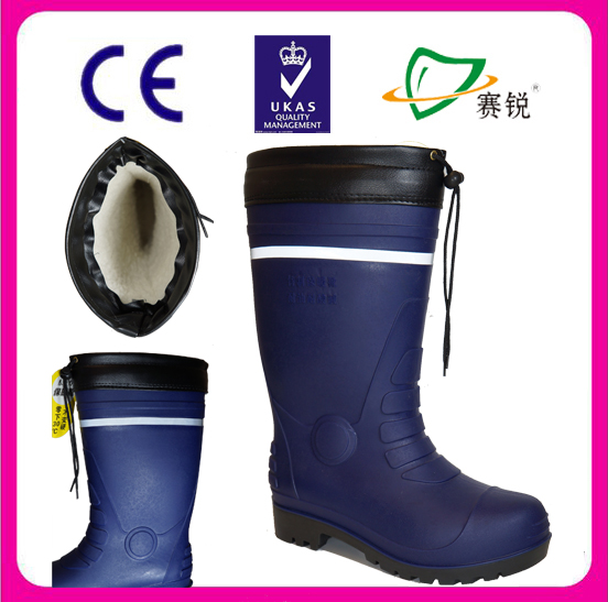 Cold storage/winter fisherman special working safety boots with high quality fur lining