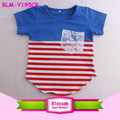 Baby Girls & Boys Striped Curved Hem T Shirt Jersey 4th of July Shirts Baseball Lace Pocket Two Tone T-shirt Unisex