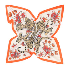 2018 Leopard Pattern Polyester Silk Square Scarf