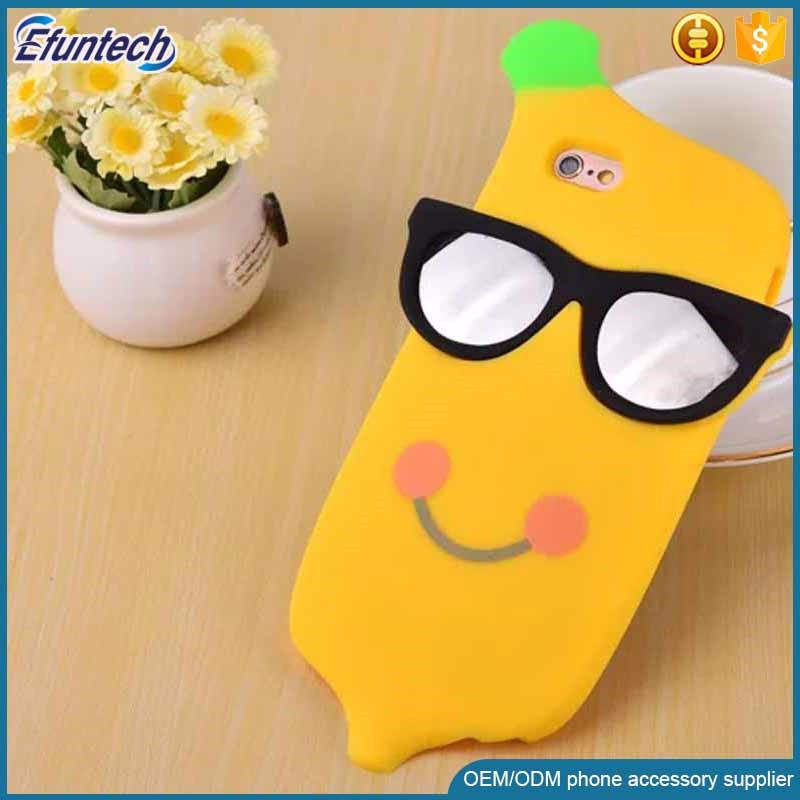 Customized design promotion gift cool banana style 3D silicone phone case for iphone 6s