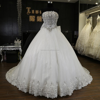 luxurious crystal wedding dresses lovely lace flower cap dress for wedding from Dubai