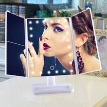 ilumay led cosmetic vanity mirror with light /2017 newest 3 panel led makeup mirror with 24 light / square base