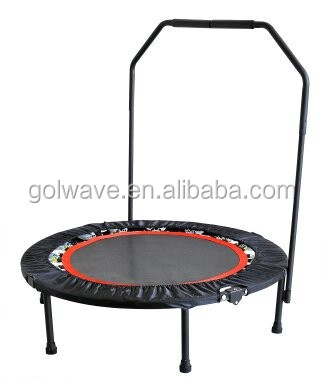 Outdoor mini foldable trampoline with handrail bar,40inch new gymnastic foldable trampoline,Mini jumping trampoline for adults
