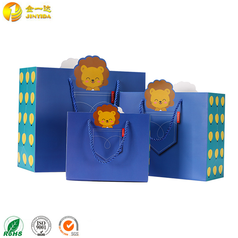 2016 fashional kids cartoon paper gift bag with handle for sale
