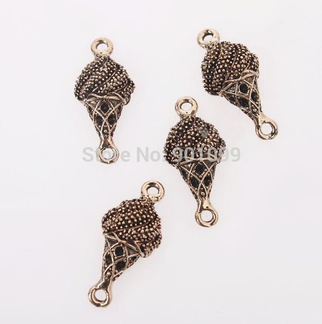 30pcs/lot Antique Bronze Zinc Alloy Ice Cream Pendant Connector Metal Charms For Jewelry Necklace Findings DIY 18*12*6mm 147438