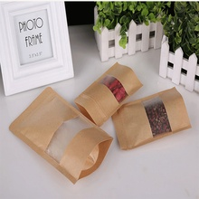 Custom logo printed stand up pouching bag of brown Kraft paper bag with transparent window and zipper top for bags paper