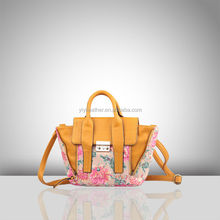 2491-Hot fashion handbags pu handbags ladies with flower printing