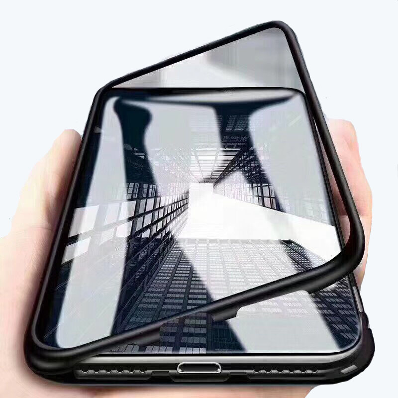 for <strong>iphone</strong> X case luxury magnetic aluminum metal bumper Tempered glass case phone cover
