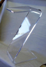 Z shape clear curved acrylic accent table for sale