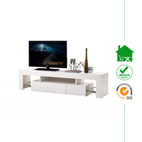 TV-2331 modern wooden white High Gloss TV stands Cabinet with LED light