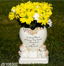 Resin flower pot with heart and angel design, for grave planter