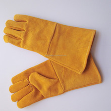 14'' Yellow Cow Split Leather Reinforced Welder Glove <strong>Safety</strong> Gloves