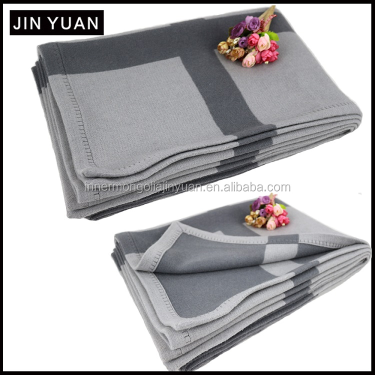 heavy heated grey cashmere wool blanket