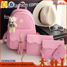4Pcs/Set with Small Bear Women Backpacks female 2017 Teenage Girls PU Leather Backpack School Bag Set