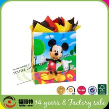 Custom China Manufacturer Top Sale Cute Gift Mickey Mouse Paper Bag
