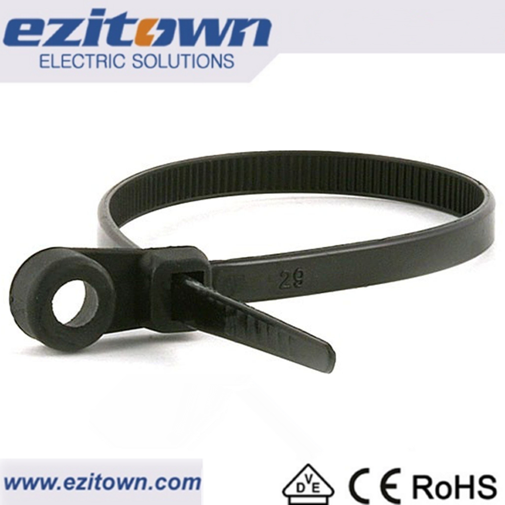 Ezitown MT Nylon 66 customized size adjustable cable ties cable fasteners mount plastic tie straps reusable Mountable head ties