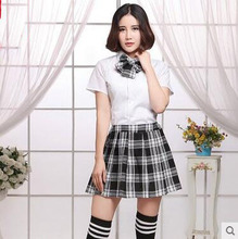 Customized high quality beautiful middle school students clothing check fabric sexy adult school uniform