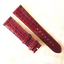 smooth red genuine crocodile skin strap watches cheap wholesale