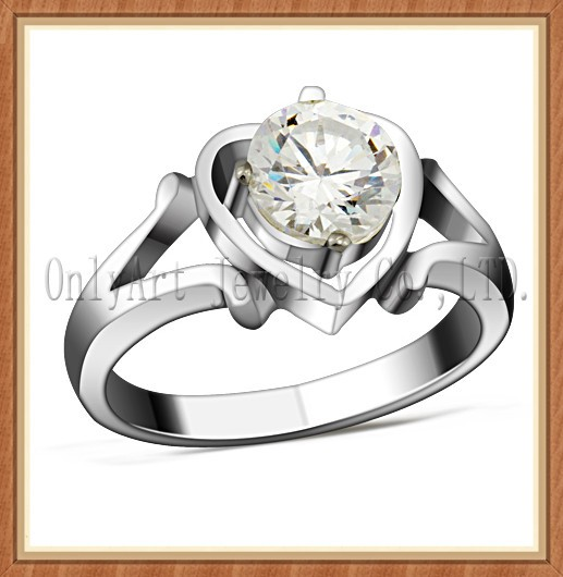 NEW unique design custom design sterling silver ring wedding ring with Imitation diamond wholesale