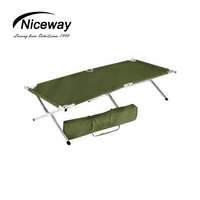 Lightweight camping single bed with carry bag 600D polyester army folding bed foldable green cot for outdoor activity