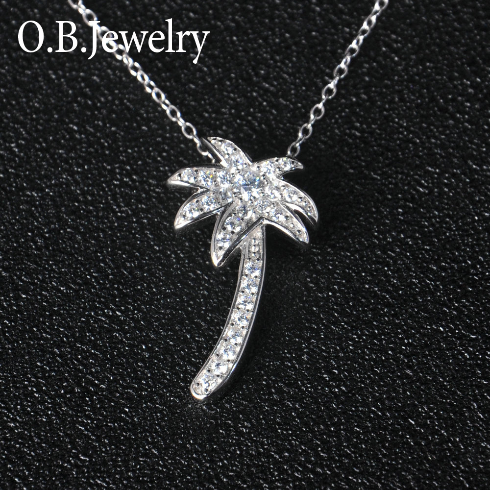 OB Jewelry-New Products Silver Plating Heart Shape Pendant Necklace With AAA Zircon