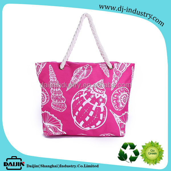 2017 Promotional Colorful Summer Beach Bag with White Sea Snail Printing