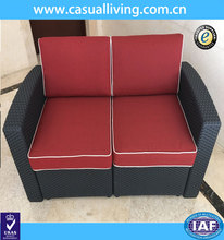 new classic indoor and outdoor plastic rattan woven bar furniture 2 seat sofa
