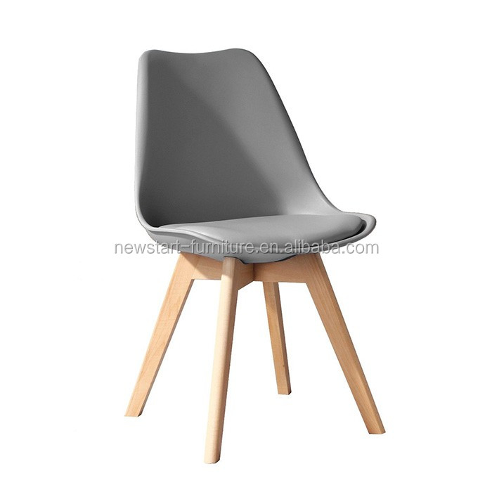 H606 grey ABS dining chair chair with wood legs