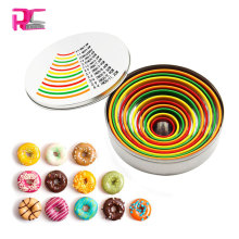 12pcs pvc tops stainless steel Round cookie cutter sets