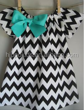 Hot sale children frocks designs summer girls casual dresses black chevron dress with bowknot girls dresses