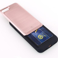 I7 2 In 1 Plastic Metal Hybrid Phone Case Back Cover Card Holder