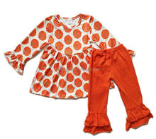 Girls Halloween boutique outfits pumpkin baby girls dresses ruffle pants baby clothing set