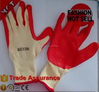 21s polycotton liner latex working gloves/safety glove